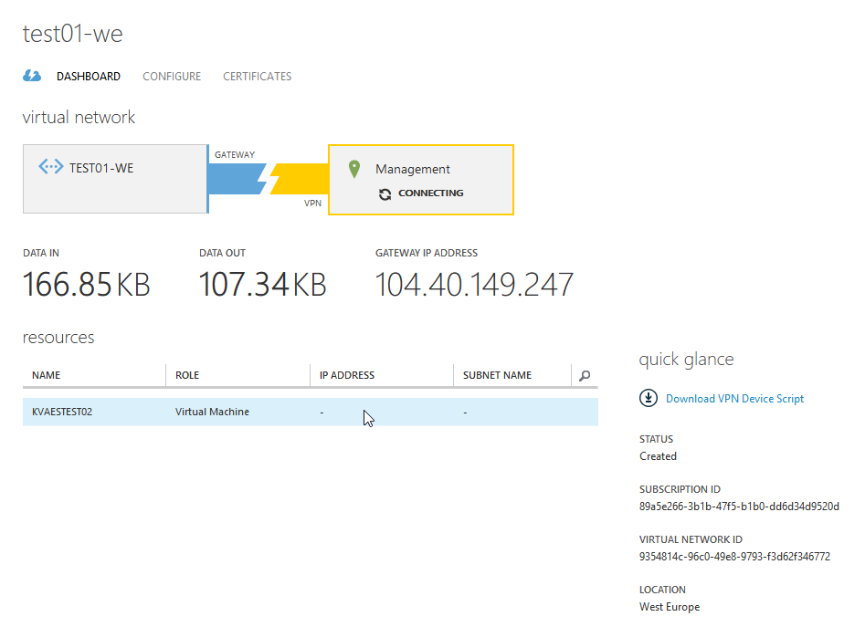 Microsoft Azure : How-to setup a site-to-site VPN using