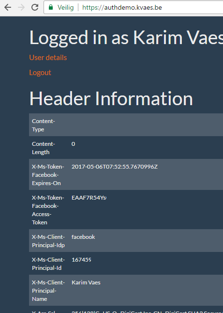 Demo : Azure Webapp Authentication Integration – Karim Vaes