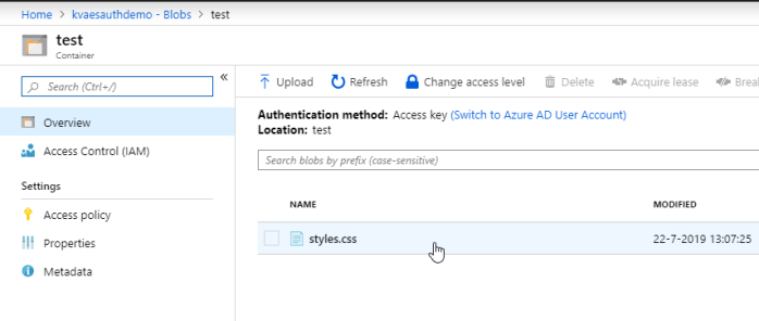 How to talk to the Azure Storage APIs from a Single Page